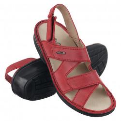 Sandale ortopedice rosii piele dama OrtoMed 3705-P84