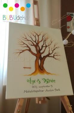 Ujjlenyomat fa csomag vendégkönyv GYŰRŰ csomag