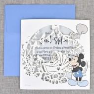 Invitatie de botez cu decupaj Laser Mickey 15710