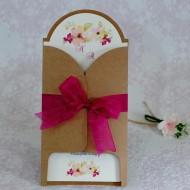 Invitatie de nunta florala crem cu plic natur 22132