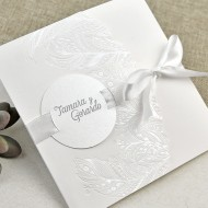 Invitatie de nunta eleganta cu pene 39635