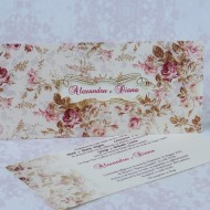 Invitatie de nunta florala mov si crem 22167