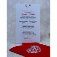 Invitatie de nunta rosie cu inima 2216