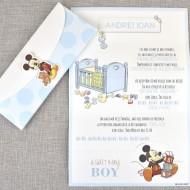 Invitatie de botez Baby Boy Mickey 15719