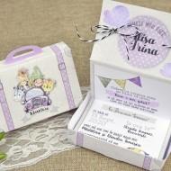 Invitatie de botez cutie roz 15601