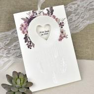 Invitatie de nunta cu pene si flori 39615
