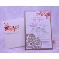 Invitatie de nunta florala crem 2217
