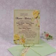 Invitatie de nunta florala verde mint 22103