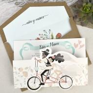 """Invitatie de nunta """"pe bicicleta"""" 39629"""