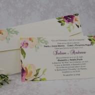 Invitatie de nunta crem cu model floral 22120