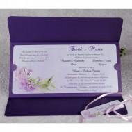 Invitatie de nunta florala mov 2233