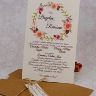 Invitatie de nunta florala crem cu plic natur 22153