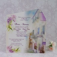 Invitatie de nunta florala crem in forma de plic 2207