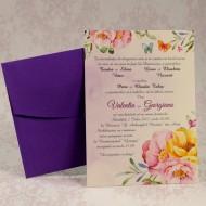 Invitatie de nunta florala cu plic mov 2210