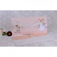 Invitatie de nunta haioasa roz cu miri 2220