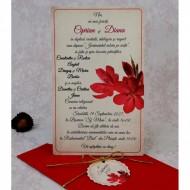 Invitatie de nunta rosie florala 22147