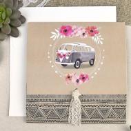 Invitatie de nunta rulota cu flori 39610