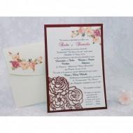 Invitatie de nunta florala crem cu visiniu 2229