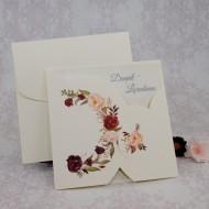 Invitatie de nunta model floral crem 2221