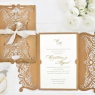 Invitatie de nunta decupaj Laser Kraft 39746-2
