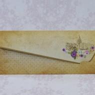 Invitatie de nunta maro florala in forma de plic 2208