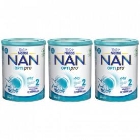Lapte praf Nestle NAN 2 Optipro, de la 6 luni, 3 x 800g