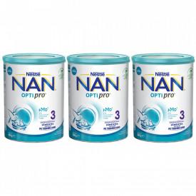 Lapte praf Nestle NAN 3 Optipro, 1-2 ani, 3 x 800 g