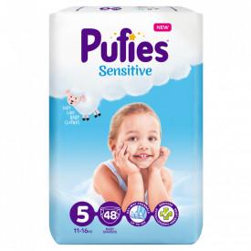 Scutece Pufies Sensitive, 5 Junior, Maxi Pack, 11-16 kg, 48 buc
