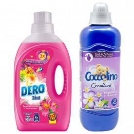 Pachet Detergent lichid Dero Bujor de Munte 1L + Balsam rufe Coccolino Creations Purple Orchid & Blueberries, 925 ml, 37 spalari