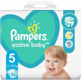 Scutece Pampers Active Baby Giant Pack Marimea 5, 11-18 kg, 64 buc