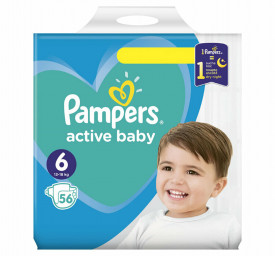 Scutece Pampers Active Baby Giant Pack Marimea 6, 15+ kg, 56 buc