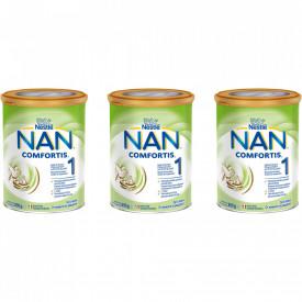 Lapte praf Nestle NAN 1 Comfortis de la nastere, 3 x 800g