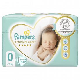 Scutece Pampers Premium Care Carry Pack Marimea 0, Nou Nascut, 1 - 2,5 kg, 30 buc