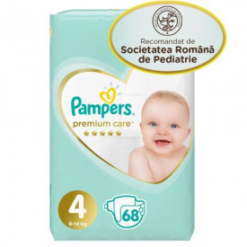 Scutece Pampers Premium Care Jumbo Pack Marimea 4, 9-14 kg, 68 buc
