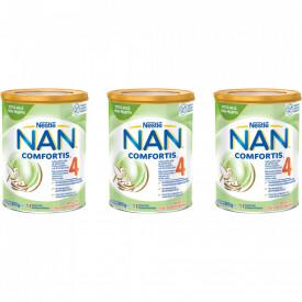 Lapte praf Nestle NAN 4 Comfortis, de la 2 ani, 3 x 800g