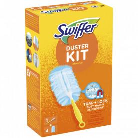 Pamatuf pentru curatarea prafului Swiffer Duster Kit Trap & Lock, 1 Maner scurt + 4 Rezerve