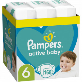 Scutece Pampers Active Baby XXL Box Marimea 6, 13 -18 kg, 168 buc (3x56)