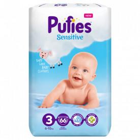 Scutece Pufies Sensitive, 3 Midi, Maxi Pack, 6-10 kg, 66 buc