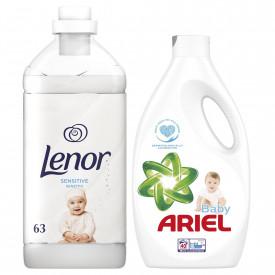Pachet Detergent lichid Ariel Baby, 40 spalari + Balsam Lenor Pure Care, 63 spalari