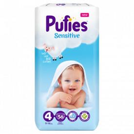 Scutece Pufies Sensitive, 4 Maxi, Maxi Pack, 9-14 kg, 56 buc
