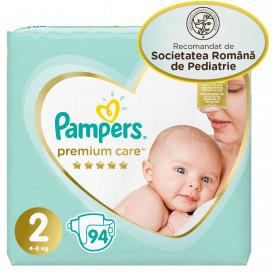 Scutece Pampers Premium Care Jumbo Pack Nou Nascut, Marimea 2, 4–8 kg, 94 buc