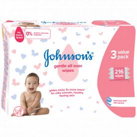 Servetele umede Johnson's Baby Gentle All Over, 3x72 buc