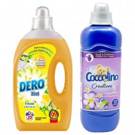 Pachet Detergent automat lichid Dero 2 in 1 Frezie 1L, 20 spalari + Balsam rufe Coccolino Creations Purple Orchid & Blueberries, 925 ml, 37 spalari