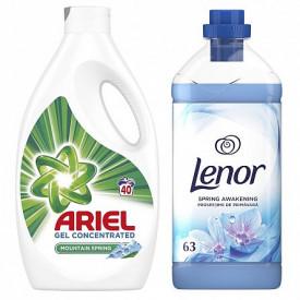 Pachet promo- Detergent lichid Ariel Mountain Spring, 40 spalari, 2.2L + Balsam de rufe Lenor Spring Awakening, 63 spalari, 1.9L