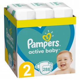 Scutece Pampers Active Baby XXL Box Marimea 2, Nou Nascut, 4 -8 kg, 288 buc (3x96)