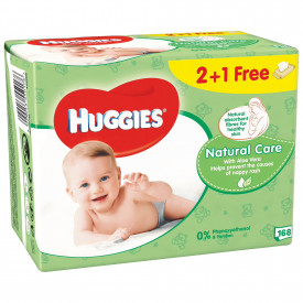 Servetele umede Huggies Natural Care, 2+1 pachete, 168 buc