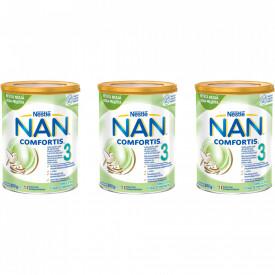 Lapte praf Nestle NAN 3 Comfortis, de la 12 luni, 3 x 800g
