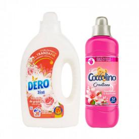Pachet Detergent lichid Dero 2in1 trandafir de gradina si flori de cires 1L, 20 spalari+ Balsam rufe Coccolino Creations Tiare Flower, 37 spalari, 925 ml