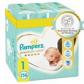Scutece Pampers Premium Care XXL Box Nou Nascut, Marimea 1, 2-5 kg, 156 buc (6x26)