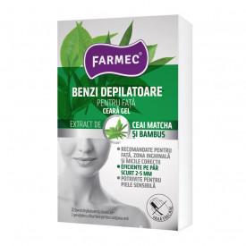 Benzi depilatoare Farmec pentru fata cu ceara gel, 20 benzi + 2 servetele